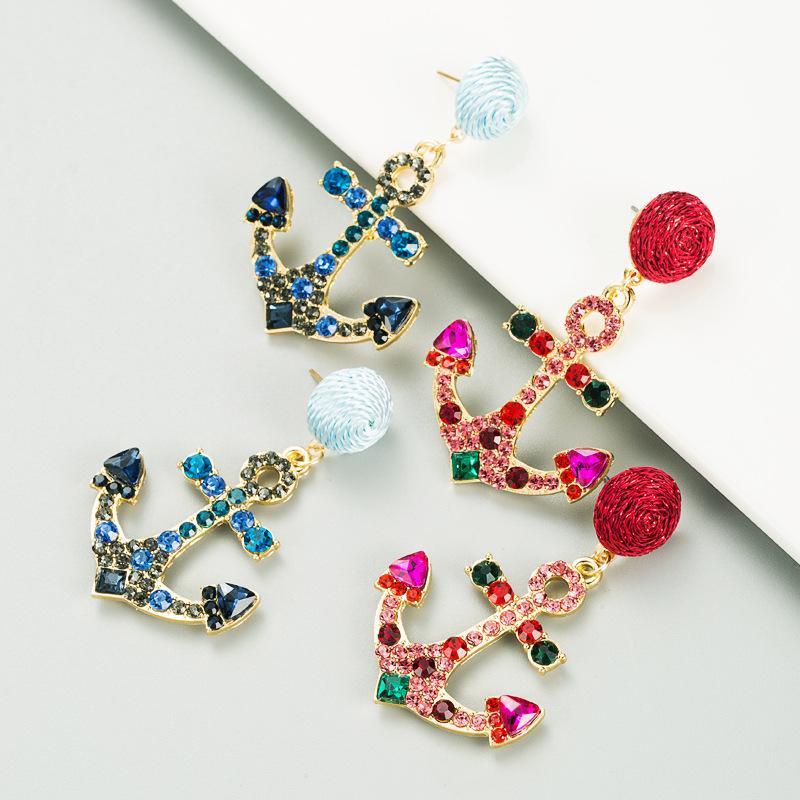 앵커 디자인 매달려있는 귀걸이 여성 기하학적 아이스 모조 다이아몬드 소녀 큰 성명 거리 파티 스터드 드롭 귀걸이 선물 패션 쥬얼리 액세서리
