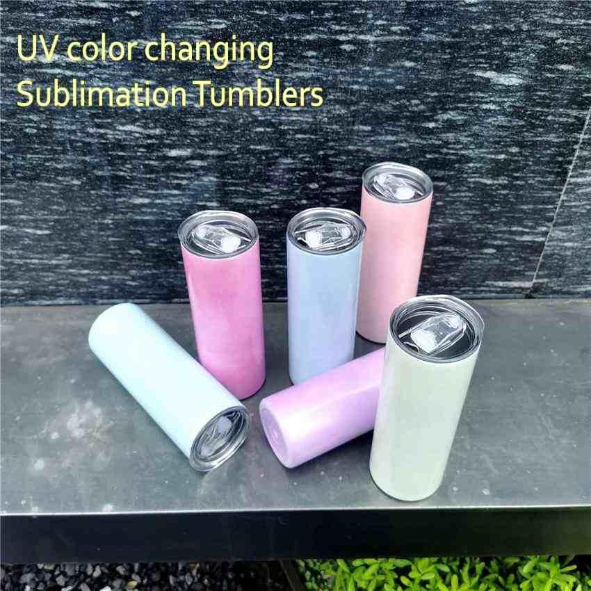 Snabbt fartyg UV-färgbyte Tumbler 20oz Sublimation Tumbler Sun Light Sensing Stainless Steel Straight Tumbler med lock och sugrör