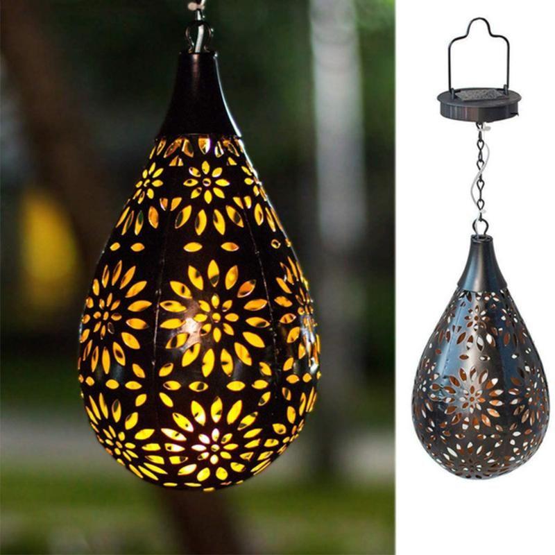 Waterproof Solar Garden Light LED Lantern Hanging Outdoor Lamp Olive Shape Sensitive Sensor Control Powered Pendant Lamps