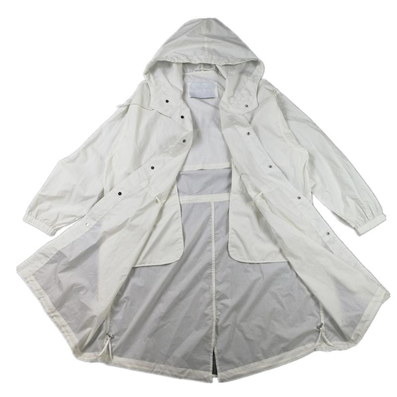 여름 솔리드 컬러 남성용 중간 긴 통기성 코트 패션 경량 썬 스크린 윈드 브레이커 빠른 건조 야외 캐주얼 재킷