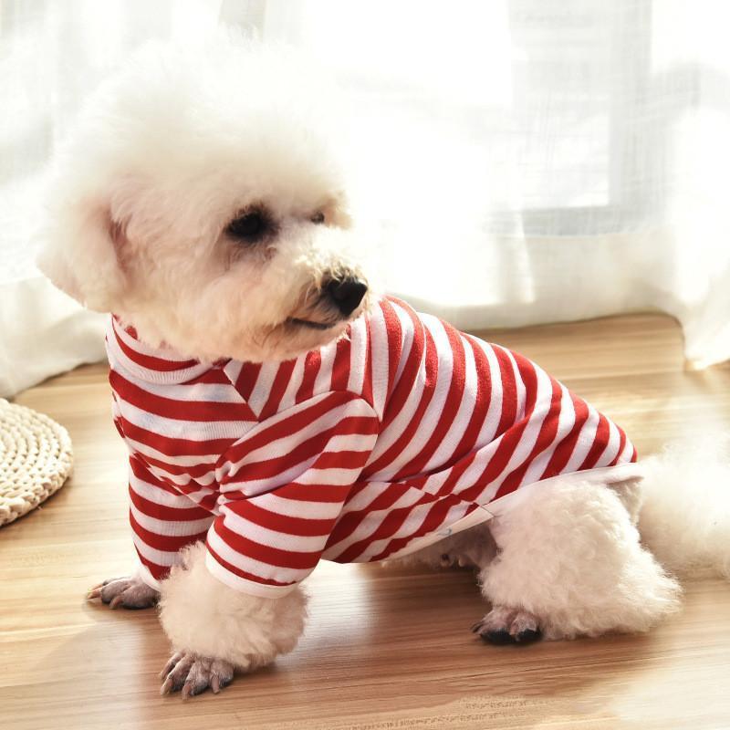 Vestiti carino animale domestico per cani gatto striscia camicia cucciolo abbigliamento estate chihuahua teddy magliette camicie animali domestici abbigliamento prodotto