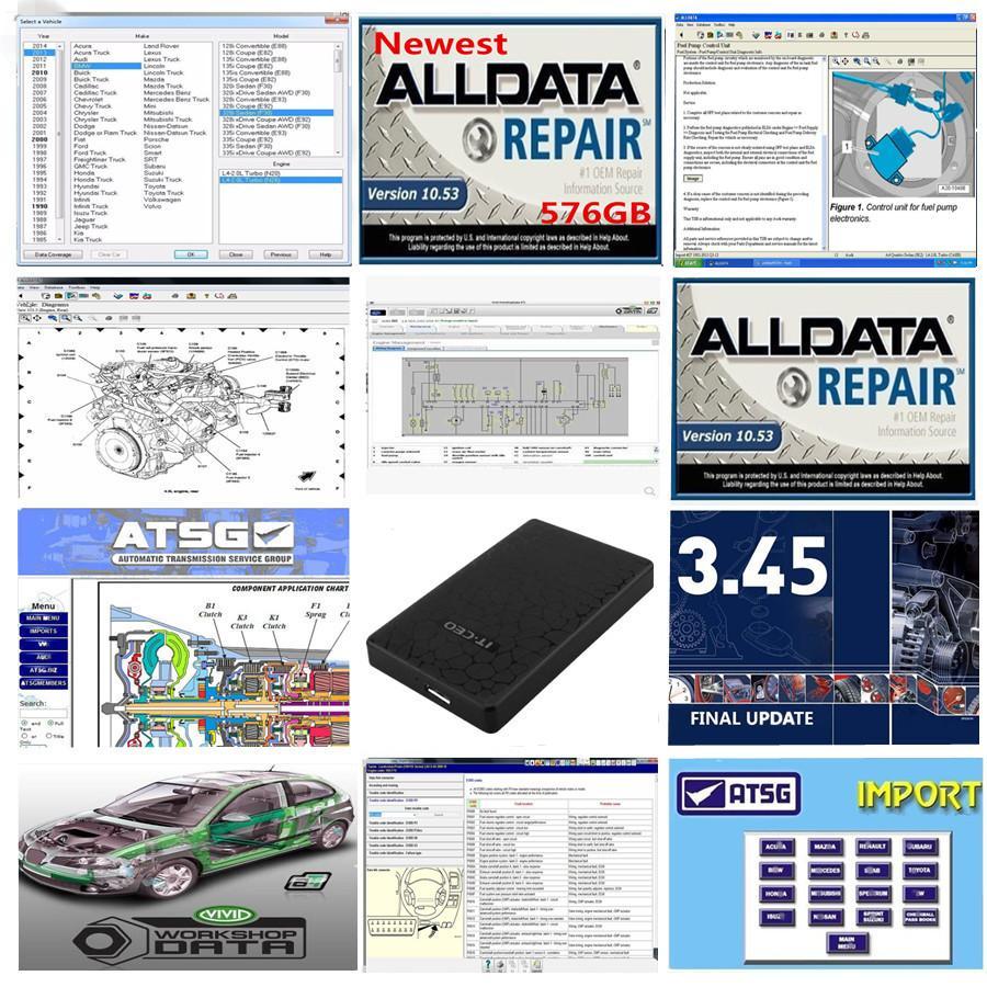 Best quality Auto Repair Alldata V10.53 mit soft-ware 2015 atsg Vivid workshop usb 1tb hard hdd