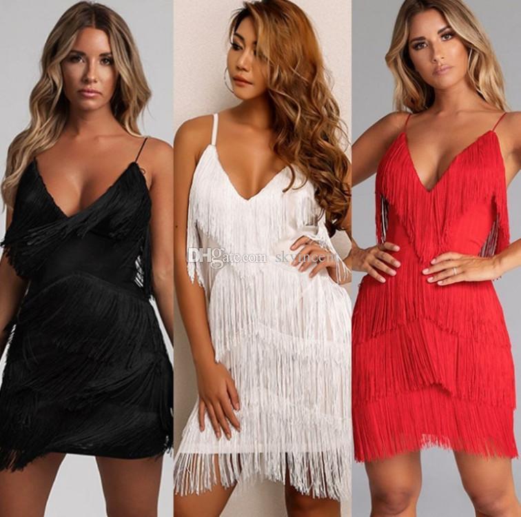 Casual Dresses Night club estate senza maniche bodycon paillettes per ragazza sexy abiti da donna vestiti moda moda womans festa paillette nappa abito vestito streetwear