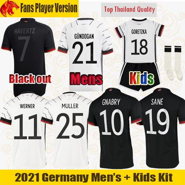عدد المعجبين لاعب النسخة ألمانيا لكرة القدم جيرسي WERNER يورو 2021 قمصان MULLER GUNDOGAN SANE كرة القدم GNABRY HAVERTZ هاملز كروس رجل أطقم قمصان للأطفال