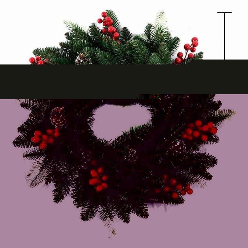 40 см Рождественский венок дверные украшения Искусственная пена ягоды с натуральными сосновыми конусами подвесной декор стен декоративные цветы венки