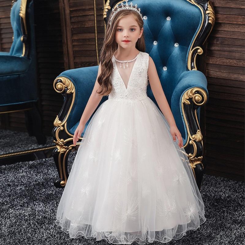 Цветочные Девушки Платья для Свадебные Кружева Дети Детские Детские Дни рождения Вечернее Платье вечеринки Принцессы Белый