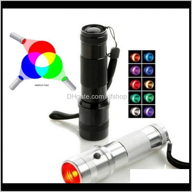 Gadget Colorshine Cambiando Flashlight 3W Aleación de aluminio RGB Edison Multicolor LED arco iris de 10 Color Torch Rxepv DWKB1