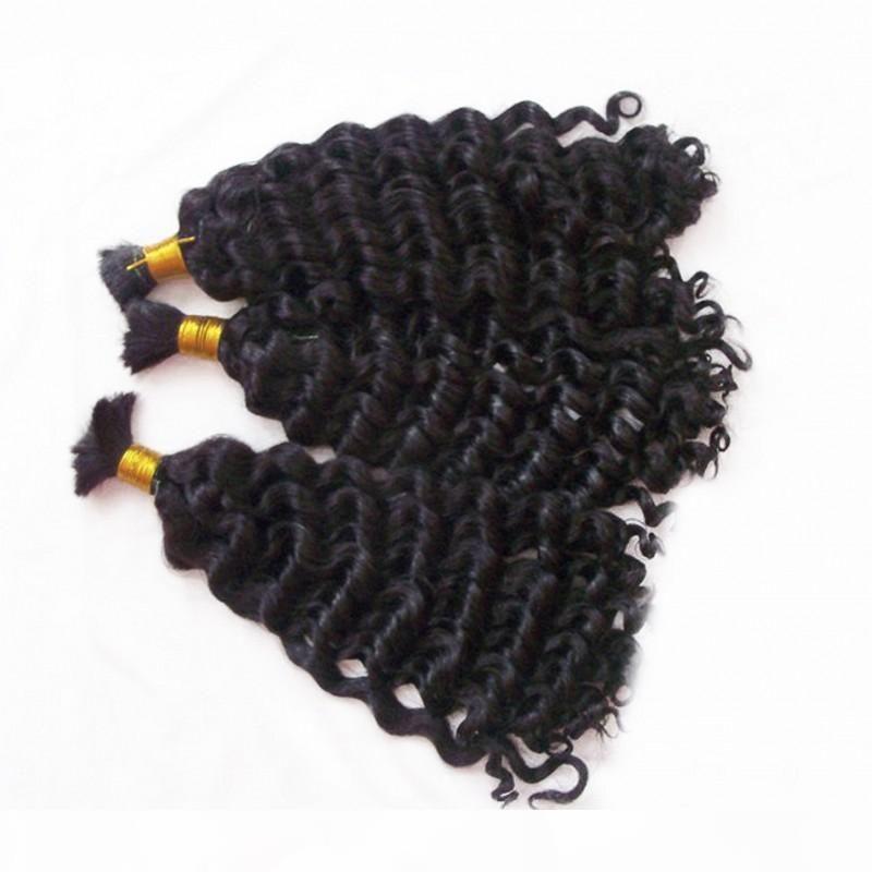Moğol insan saç dökme hiçbir atkı derin kıvırcık 3 demet saç dökme örgü için boyalı olabilir fdshine olabilir