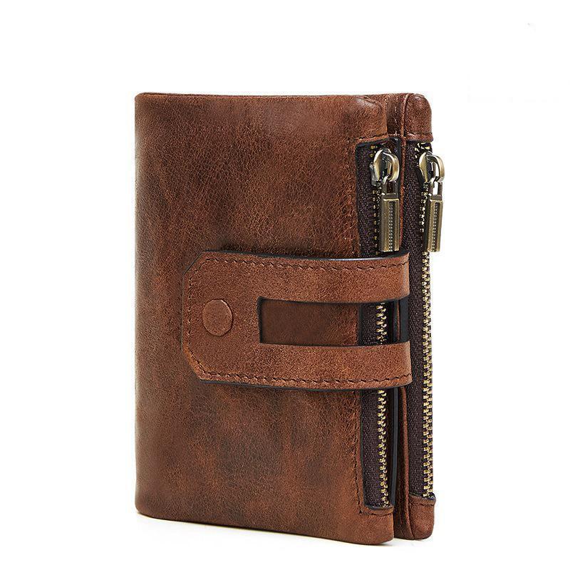 Carteira de couro genuína moda homens moedas bolsa de cartão pequeno portfólio portfólio Portomonee masculino walet para amigo saco de dinheiro carteiras