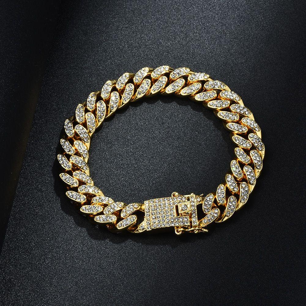 رجل الهيب هوب سوار مجوهرات مثلادة سلسلة روز الذهب والفضة ميامي كوبان رابط سلاسل أساور