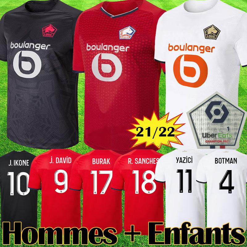 LOSC Lille 2021 2022 camisetas de fútbol BURAK DAVID FONTE BAMBA YAZICI camiseta de fútbol 20 21 22 Lille Olympique JIKONE 10 maillot Kit para niños adultos