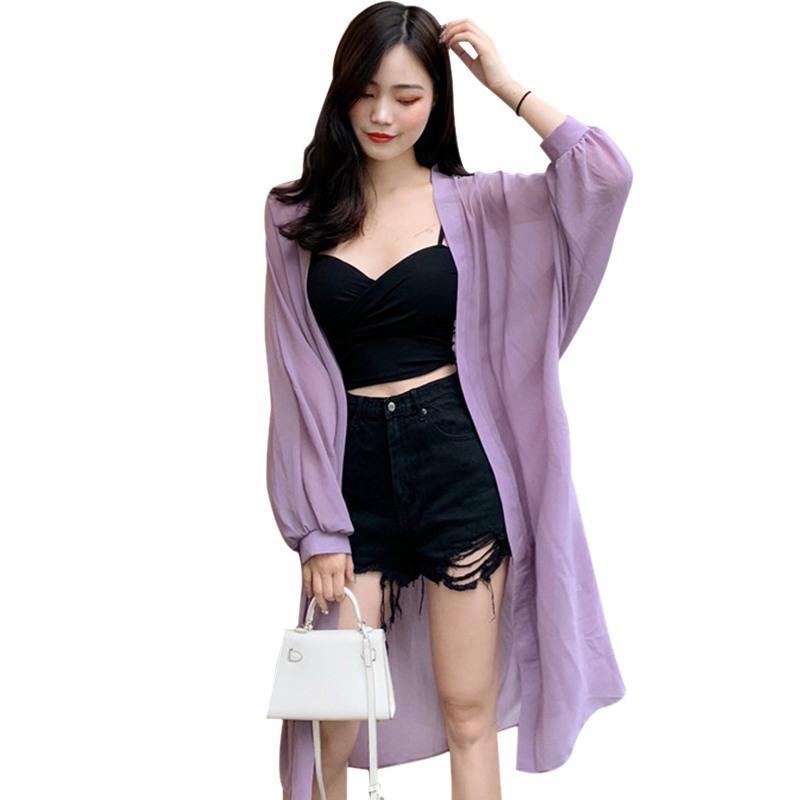 Mujer fina capa casual verano protección sol ropa hembra largo camisa camisa ropa tops blusa de mujer cubierta blusas x0521