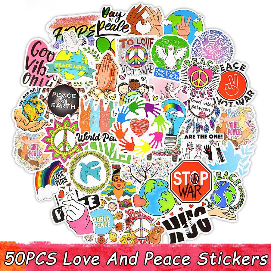 50 PCS Love And Peace Stickers Aesthetic Graffiti Hippie Sticker on Laptop Skateboard Suitcase Stationery Bike Vinyl Kid Sticker