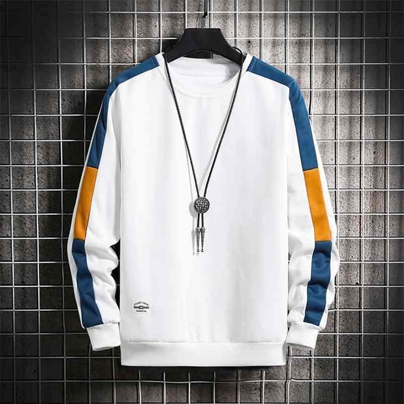 Sweats à manches longues Harajuku Hommes Mode 6 Couleur Sweat à capuche Mens Casual Couleur O-Cou Sweat-shirt pour jeunes hommes 210728