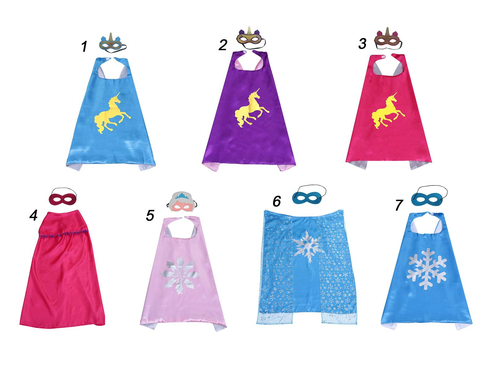 70*70cm double layer Satin cape with felt mask children carton costumes dressing up cosplay capes Kids clothes Party favors