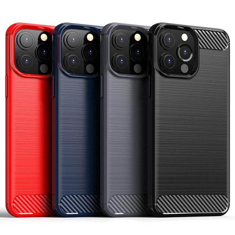 Włókno węglowe Miękkie TPU Gumy Silikonowa Ochrona Hybrid Ochrona odporna na wstrząsy Szczotkowana Chropowa osłona zbroi dla iPhone 13 Pro Max 12 mini 11 x x x 8 7 6 6s plus se se se