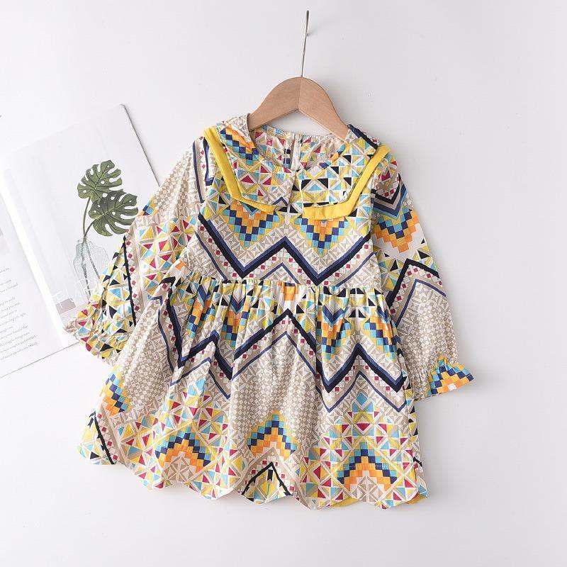 세련된 아기 소녀 드레스 Boho 디자인 지리 패턴 긴 소매 공주 소녀의 드레스