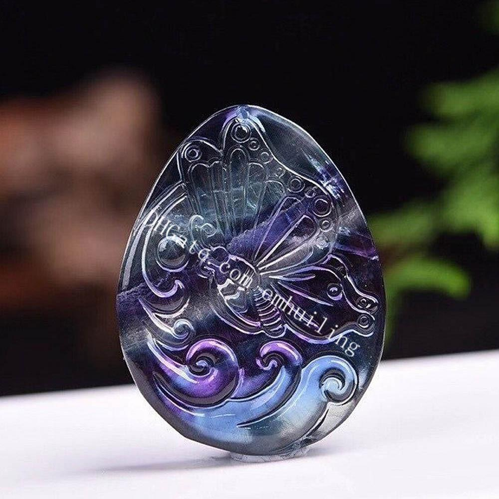 46*35*6MM Carved Natural Rainbow Fluorite Butterfly Waterdrop Pendants Beads Crystal Charms Craft Supplies for DIY Jewelry Making Crafting Findings Accessory