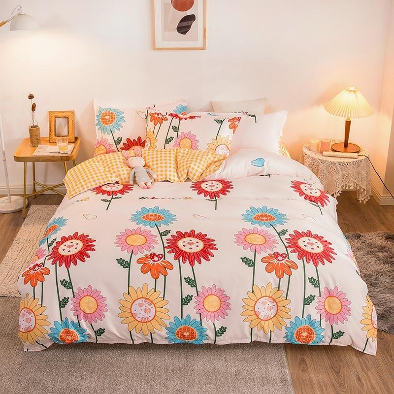 Spring and Summer Frosted Four Piece Thickened Quilt Cover Printed Sheet Double Set Small Floral Bedding