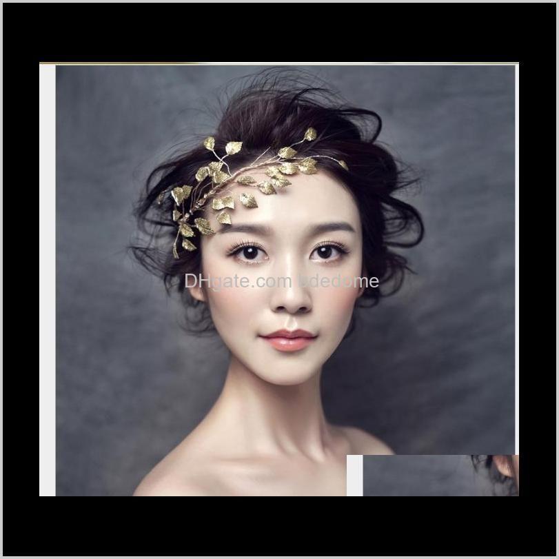 Joyas de boda Drop Entrega 2021 Versión coreana Hoja Decoración de cabello Aessories Aessies Bridal Hecho a mano Tocado O5LBM