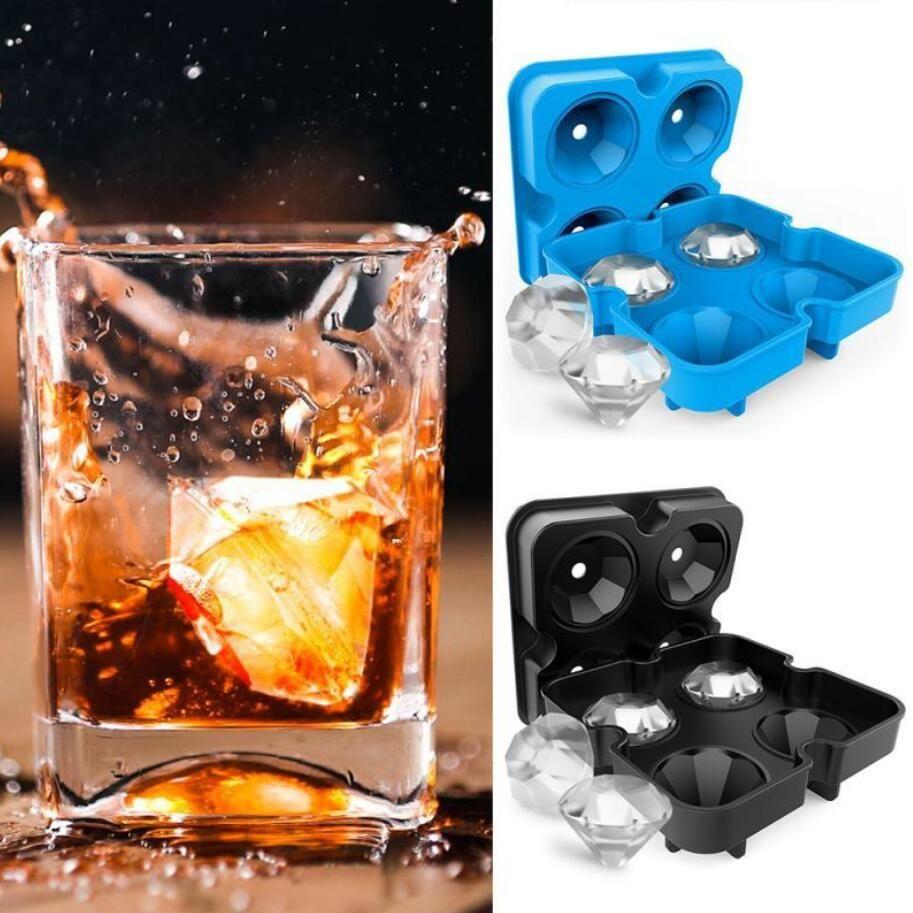 4 hoyos Diamond Ice Cube Bandeja Reutilizable Cubos de hielo Fabricante Moldes de helado de silicona Forma Molde de chocolate Whisky Party Bar Herramientas