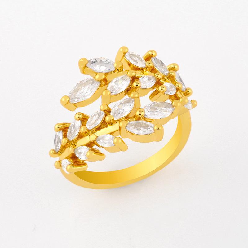디자이너 링 새로운 액세서리 다이아몬드 잎 열기 여성 성격 반지 RIJ57