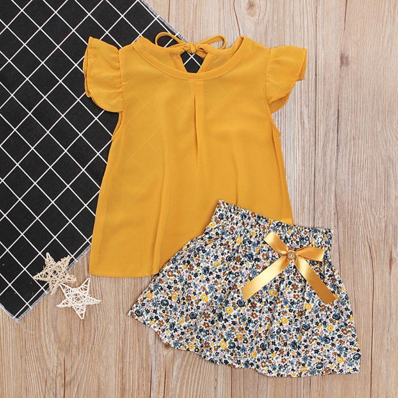 아이들 아이들 소녀 정장 여름 아기 ruffled tops 활 꽃 치마 2pc 복장 세트 의류