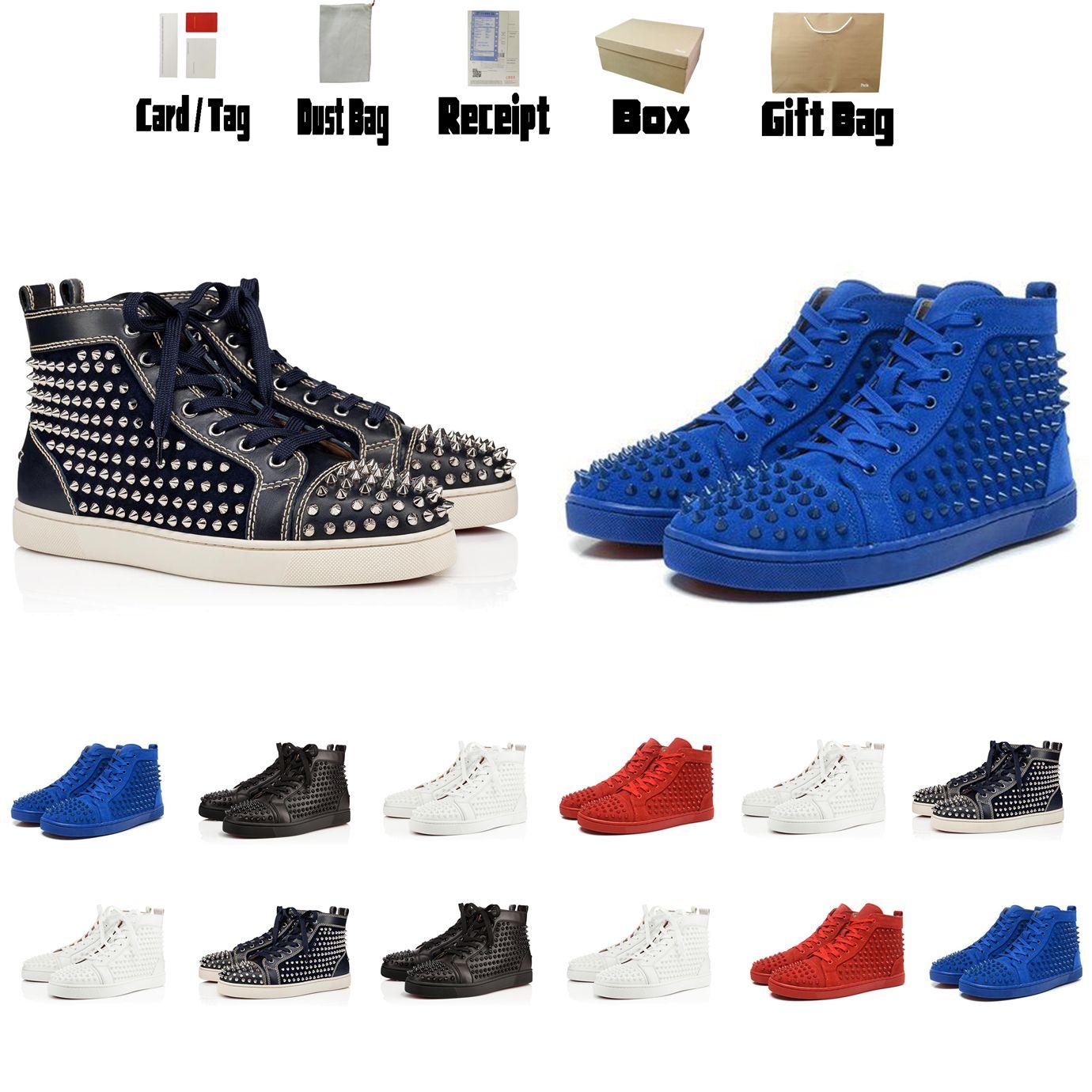 Botas Luxurys Designers Sapatos Vermelho Bottom Sneakers Homens High Top Top Top Mens Runner Mulheres Botas Planas Tamanho US5-US13