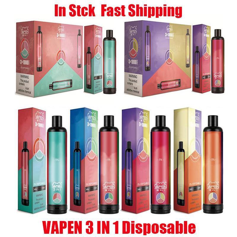 원래 Vapen 3in1 3 * 1000 3000puffs 일회용 vape 펜 전자 담배 1400mAh 배터리 3 * 3.2ml 용량 공기 흐름 시스템 휴대용 기화기 미리 채워진 스타터 키트 증기