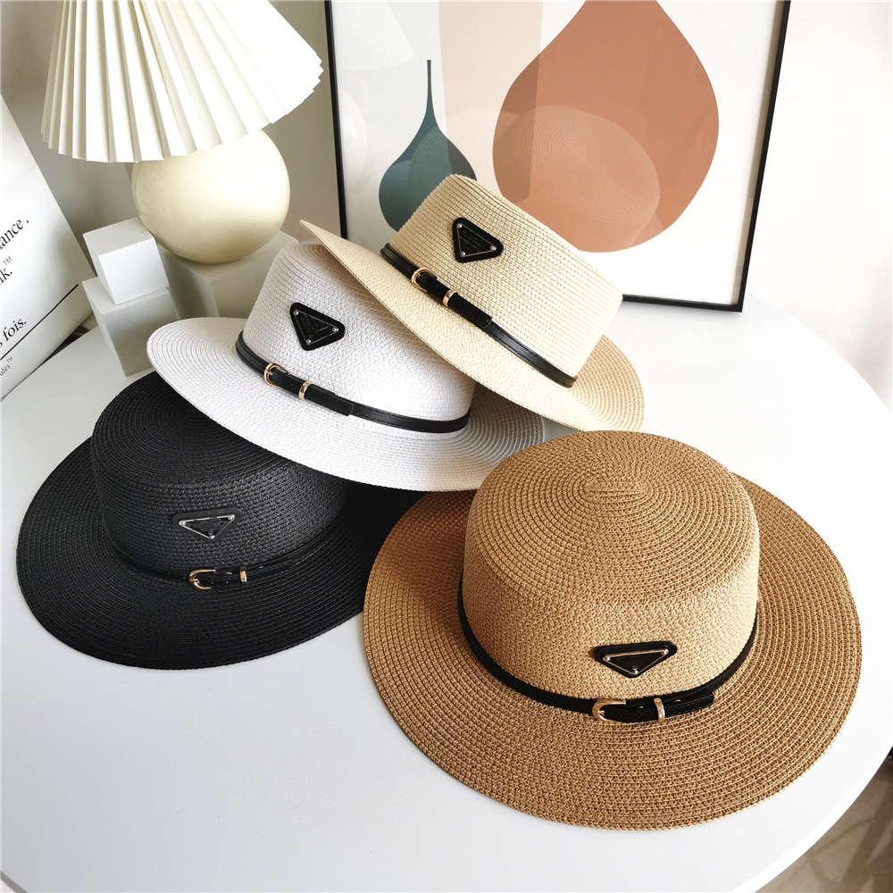2021 أزياء الصيف المرأة القش قبعة الأزياء الشمس حماية الشاطئ شخصية حافة واسعة القبعات مع الشريط