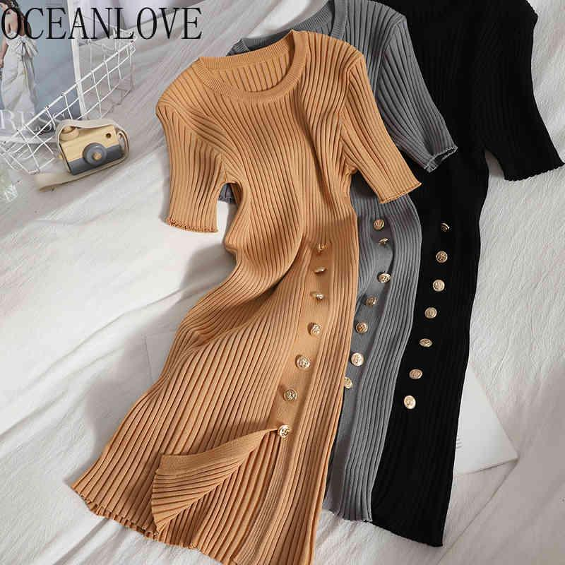 Oceanlove Tricoté Vestidos Solide Boutons Short Summer Stretch Sexy Femme Robes High Taille Vintage Femme Robes 210513