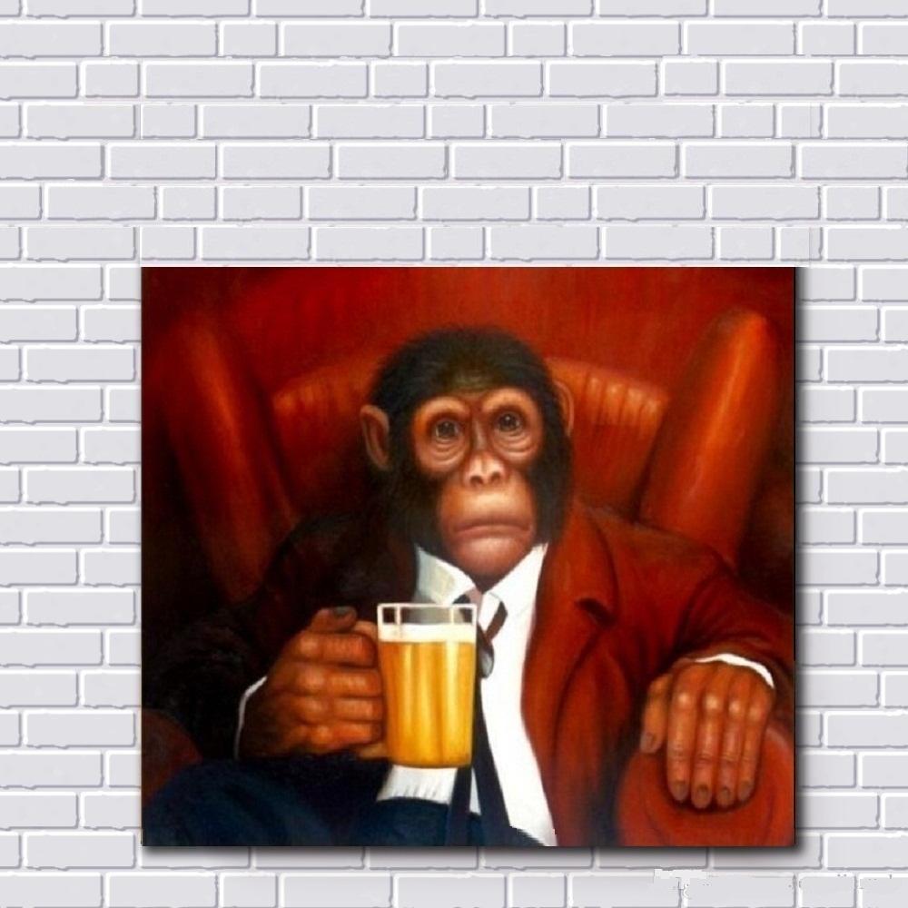 A1.2 Güzel Maymun İçme Yüksek Kalite Yağlıboya Handpainted HD Baskı Hayvan Duvar Sanatı Tuval Üzerine Ev Dekor Çok Boyutları