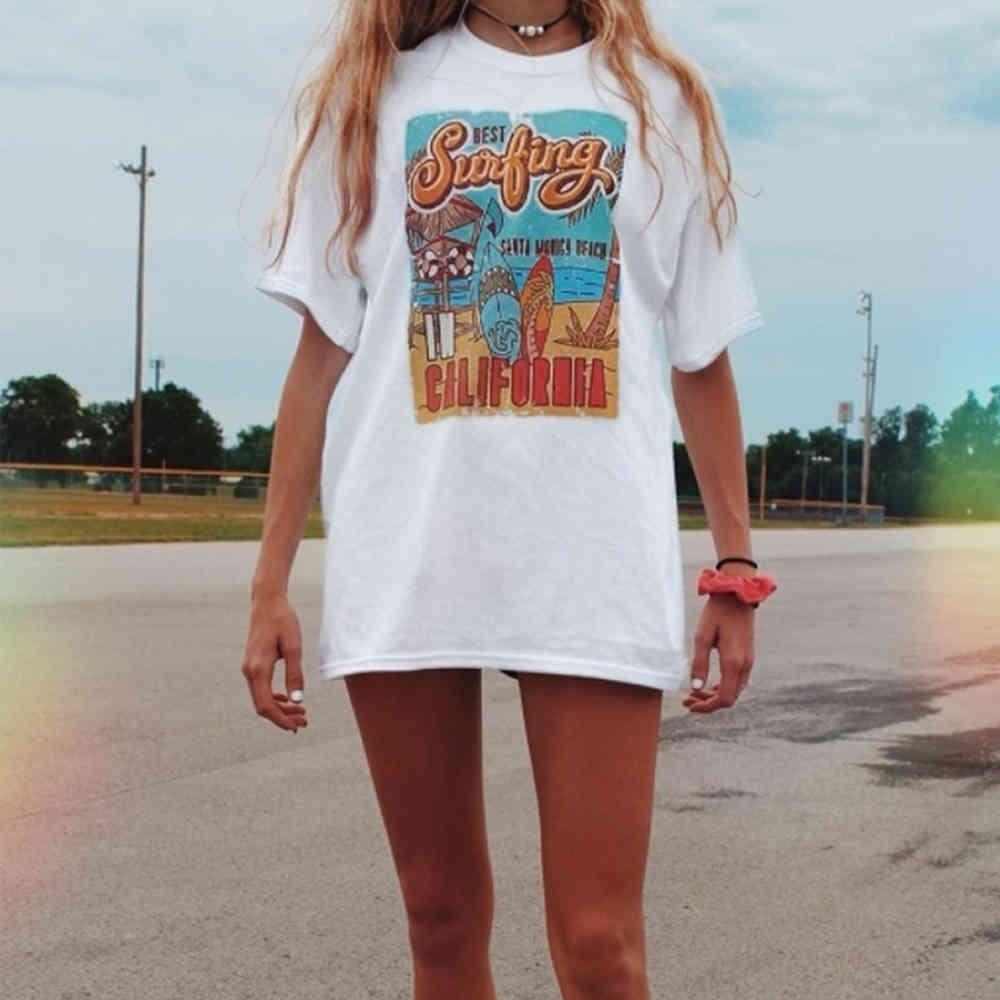Urlaub Strand T-Shirt Sommerweiß T-Stück der beste Surfing-Frauen-Retro-Stil T-shirt beiläufig übergroßes T-Stück 210420