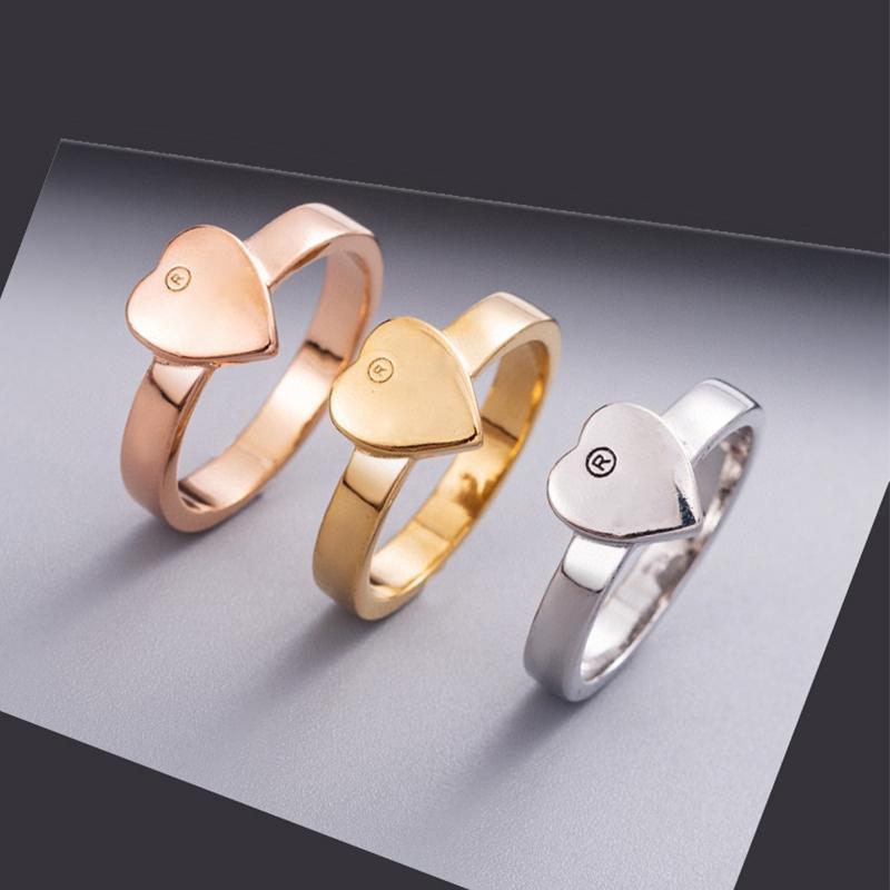 3 colores mujeres corazón anillos dedo con sello lindo letra anillo accesorios de joyería de moda regalo para la novia del amor