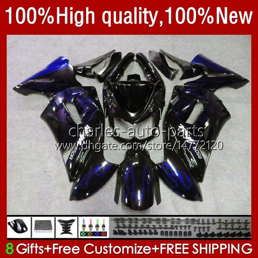 Kawasaki Ninja Er 6 F 2006-2008 Er6 F 650 R 650R 06-08 Body 6NO.108 650R-ER6F ER-6F ER 6F 2006 2008 2008 650-R ER6F 06 07 08 오토바이 페어링 블루 불길