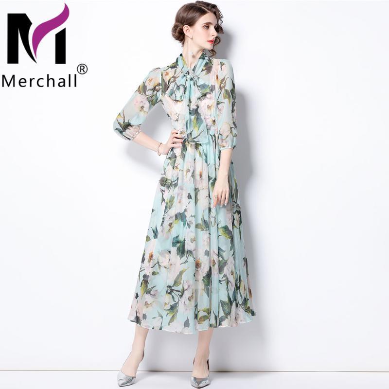 Günlük Elbiseler Merchall 2021 Yaz Pisti Tatil Şifon Elbise Kadın Zarif Çiçek Baskı Papyon Boyun Latern Kol Maxi M76610