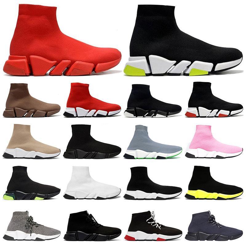 망 클래식 양말 신발 2.0 플랫폼 트리플 블랙 화이트 베이지 붉은 clearsole 옐로우 floo bule 플랫 여자 패션 야외
