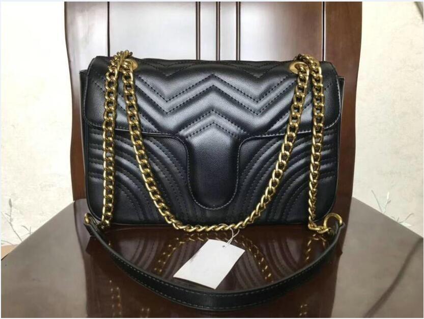 할인 고품질 여성 어깨 가방 패션 실버 체인 스트랩 가방 합성 가죽 크로스 바디 핸드백 지갑 배낭 없음 대형 크기 26cm VV