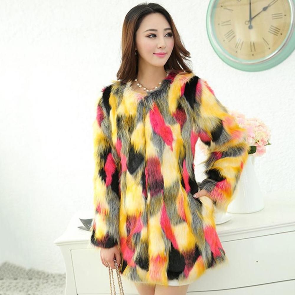 Long Coat Women Color Faux Fur Jacket Warm Thick Fashion Loose Plush Coat Winter Jacket Women Fluffy Plus Size