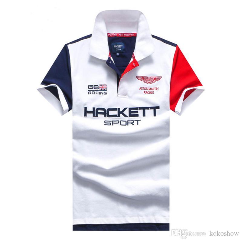 Hackett London Men Polo Shirts GB برو سلسلة أستون مارتن سباق قصيرة الأكمام المملكة المتحدة القمصان إنجلترا الأزياء camisas hkt الرياضة بولو أبيض