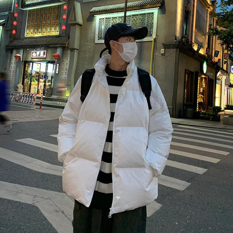 가을 겨울 빛나는 파카 남자 한국어 하라주쿠 따뜻한 재킷 2021 남성 스탠드 칼라 캐주얼 두꺼운 코트 파카 스트리트웨어 패션 남자 다운