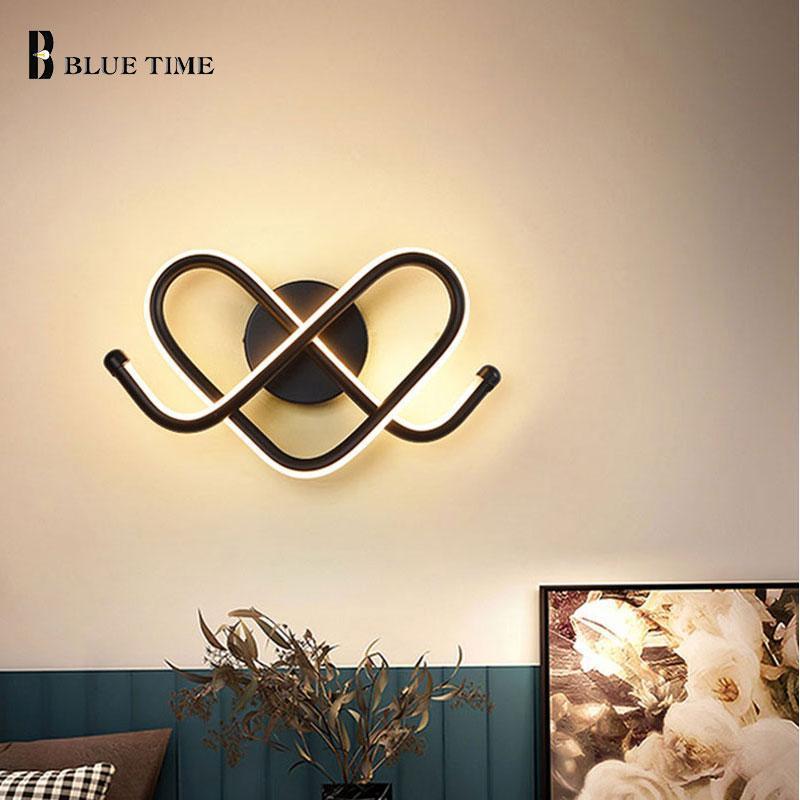 LED 벽 빛 현대 작은 실내 홈 램프 침실 침실 침대 옆 거실 다이닝 장식 램프 블랙 프레임