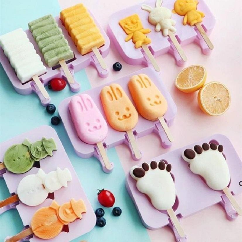 DIY Dondurma Silikon Kalıpları Çocuklar Hayvanlar Ev Yapımı Popsicle Kalıpları Çocuklar Için Sevimli Karikatür Buz-Lolly Kalıp Dondurma Araçları DHF6069