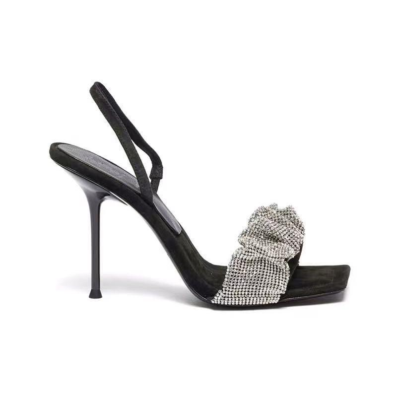 Yaz Tarzı Kare Toe Bayanlar Terlik Seksi Rhinestone Güzel Yüksek Topuklu Ziyafet kadın Sandalet Büyük Boy 40 Elbise Ayakkabı
