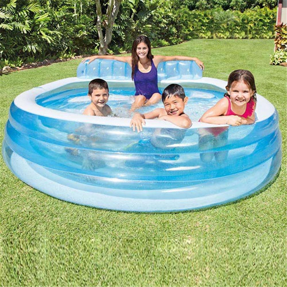 224*216*76CM Outdoor Inflatable Swimming Pool Blow Up water Yard Pools for Family Party Sports with Backrest and Built-in Bench