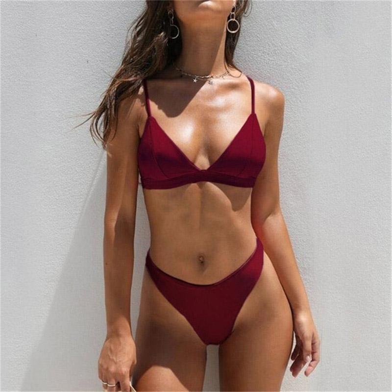 Women's Swimwear Thong Bikinis 2021 Women Sexy Female Swimsuits Solid Bikini Set Black Brazilian Biquini Bathing Suit Beachwear