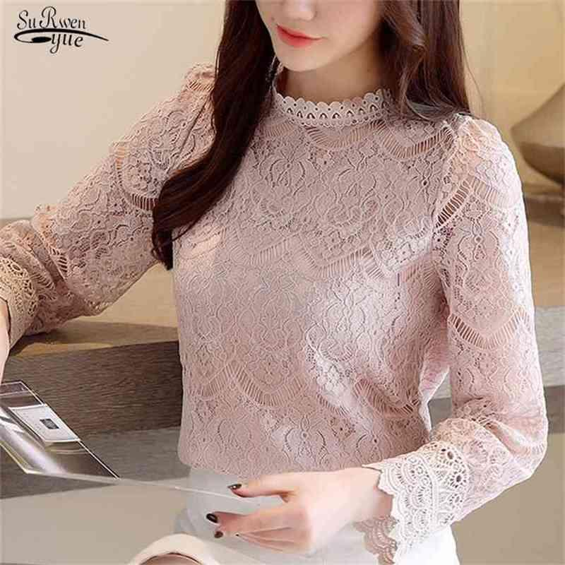 Spring fashion womens tops and blouses stand collar sexy hollow lace blouse shirt female flare long sleeve women shirts 210415