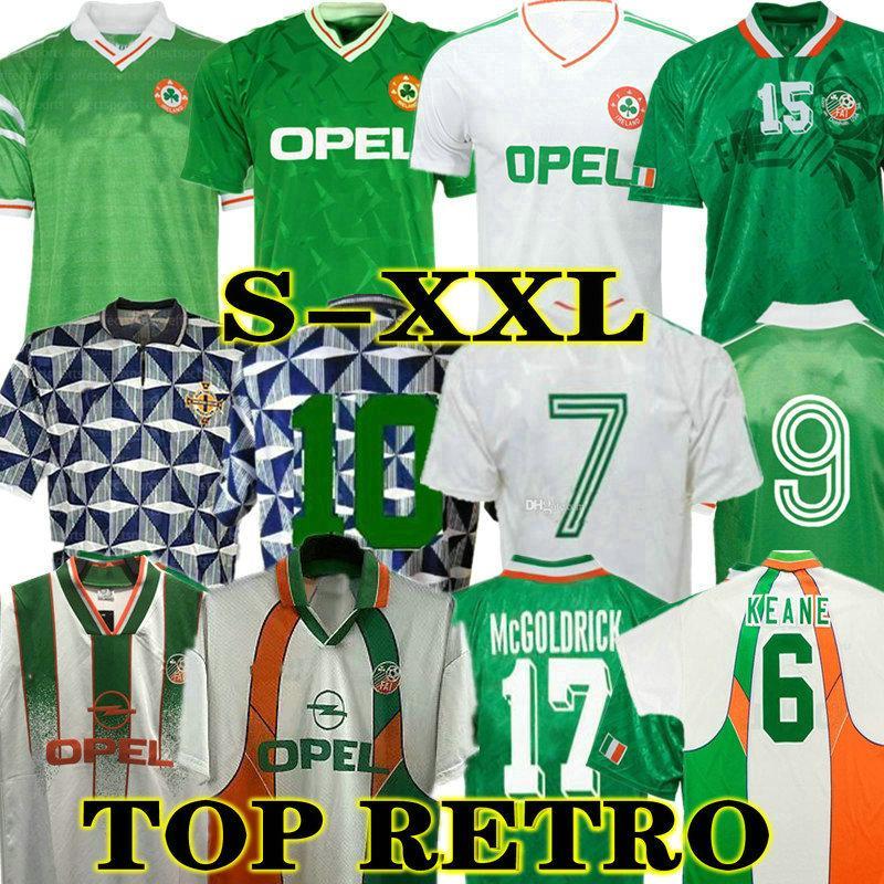 McGoldrick 1990 Retro Irland Soccer Jerseys 1992 1994 1996 1988 COYNE Keane 90 92 93 94 Klassische Vintage Irische Staunton HAUGENTON FUSSHALDS