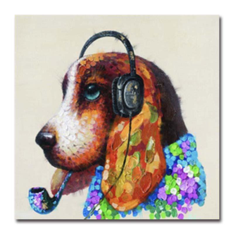 Süslü Soyut Resim Sanat Boyama Tuval Üzerine Handpainted Hayvan Köpek Yağı Kanepe Duvar Dekorasyon Için Boyalı Çocuk Yatak Odası Renkli Renkler Yok Çerçeve