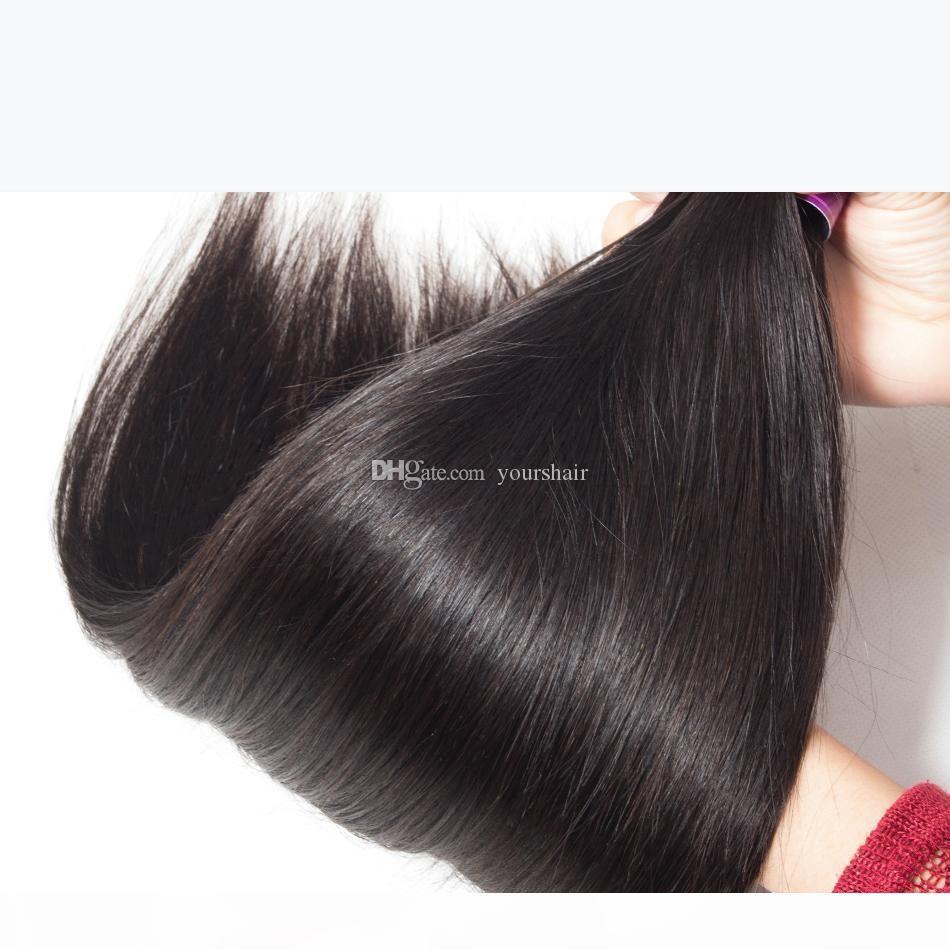 4bundles Vizon Brezilyalı Bakire Düz Saç 8-30 inç 100% Jet Doğal Siyah Düz İnsan Saç Demeti Fiyatları